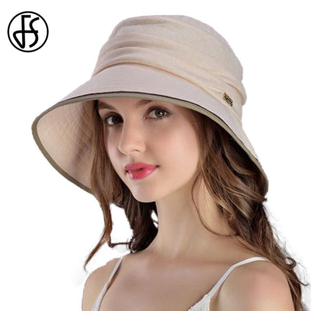 48675f37e12 FS 2018 Women Summer 100% Cotton Hats Wide Brim Floppy Bucket Sun Hat  Casual Beach Hats Beige Blue Sombreros Mujer Verano Viso