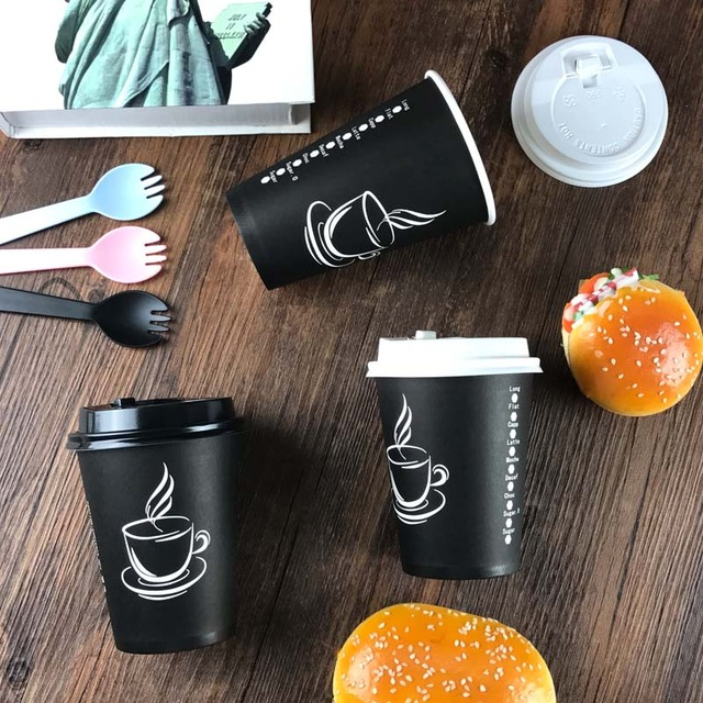 53507327848 US $3.2 |10pcs 250ml biodegradable paper coffee cup, disposable coffee mug  with lid and straw for shops-in Mugs from Home & Garden on Aliexpress.com |  ...
