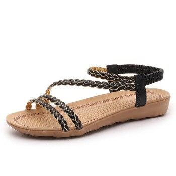 Women Shoes Sandals Comfort Sandals Summer Flip Flops Fashion High Quality Cross Strap Flat Sandals Gladiator Mujer Flats