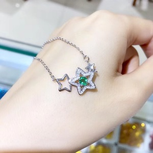 Image 1 - Natural emerald necklace, from the stars, 925 silver, especially beautiful, the price is suitable