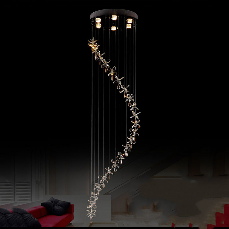 Modern Long Stair Light K9 Lustre Led Crystal Chandelier Light Fixture Home Lighting Kitchen Room Lamp 100% Crystal Pending