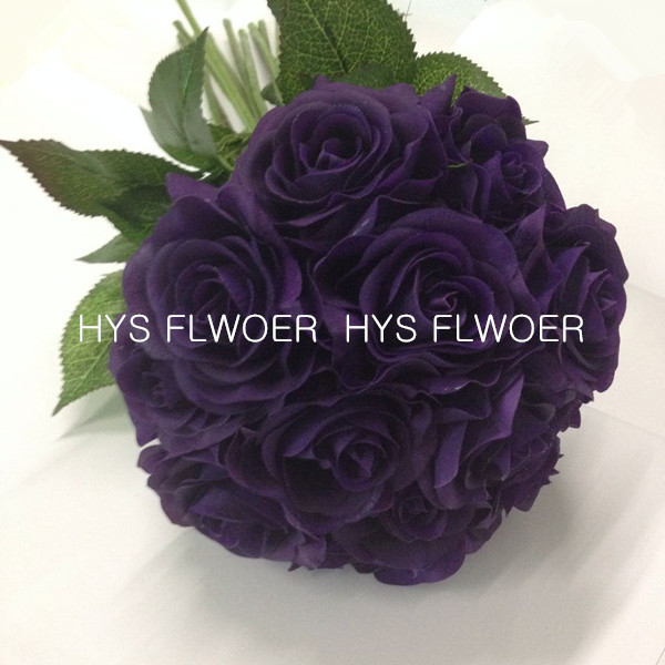 Free shipping life like purple roses wedding venus roses bridal ...