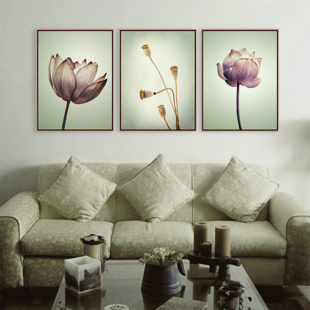 Triptych Modern Minimalist Purple Lotus Vintage Style A4 Flower Art Prints Poster Nature Wall Picture Canvas Painting Home Decor