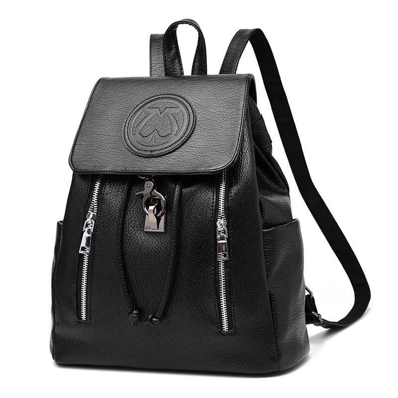 Vintage Pu Leather backpacks Women s backpack school bag drawstring zipper back pack Fashion 2017 bagpack