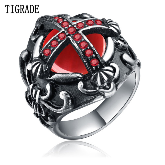 Stainless Steel Red Cross Biker Ring