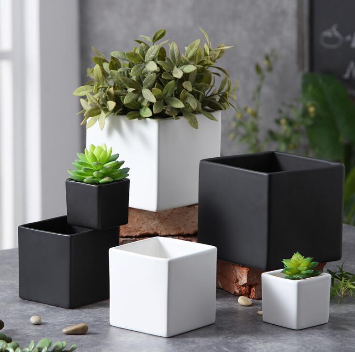 TECHOME Ceramic Flower Pot Modern Square L/M/S Matte Glossy Simple Flower Pot Home Garden Office Decor Flower Pots & Planters     -