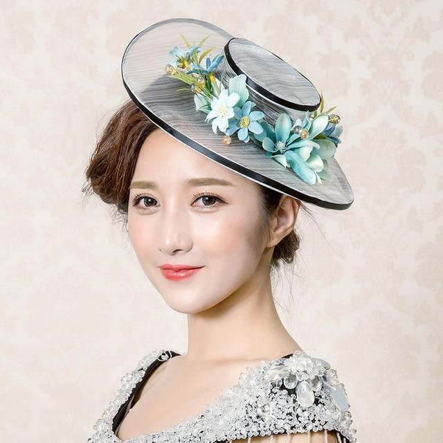 Новый сладкий дамы стереоскопический пряжи Корейской свадьбы банкетный очаровательный шляпа шляпа пляж шляпа солнцезащитный крем