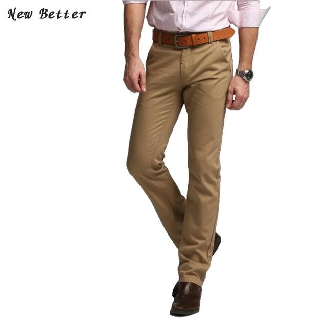 2016 Marca Pantalón Mediados de Pantalones Casuales Para Hombre Vestido Lleno Delgado fit pantalones de traje para hombre khaki pantalones de algodón hombres pantalones más el tamaño 38