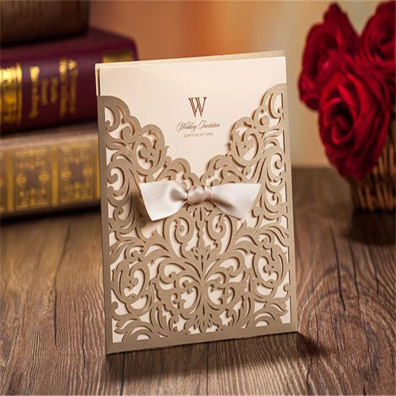 12pcs Lot Customization Laser Cut Hollow Wedding Invitations Paper Cards 150x 150mm Party Gold Bow Decoration Supplies In From