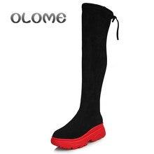 Kobiety elastyczne długie buty moda na kolanach długie płaskie buty zwiększone kliny damskie buty wiosna jesień zima kobiety buty