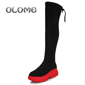 Image 1 - Women Elastic Long Boots Fashion Over The Knees Long Flat Boots Increased Wedges Women Boots Spring Autumn Winter Women Shoes