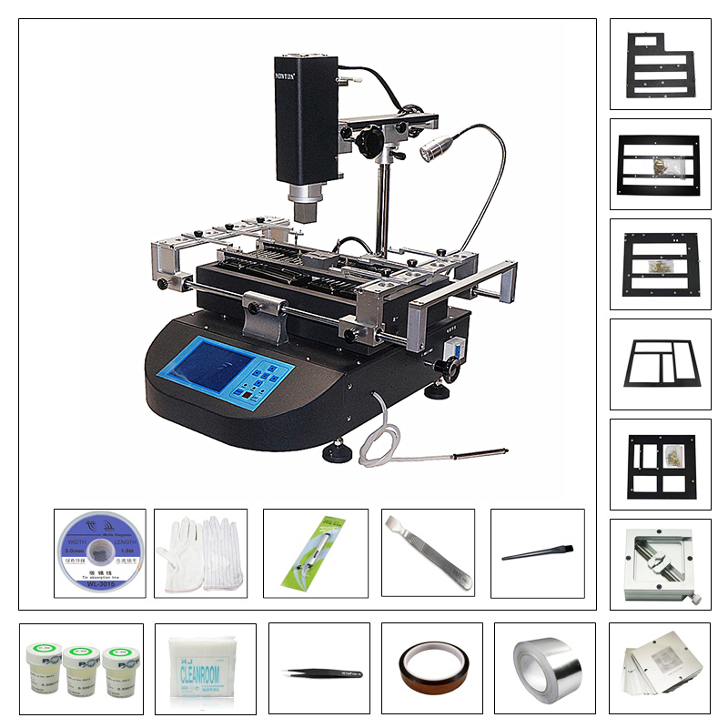 Honton HT R490 BGA Welding Machine Hot Air Soldering Station With Universal Direct Heating Stencils BGA Reballing Tools Kit