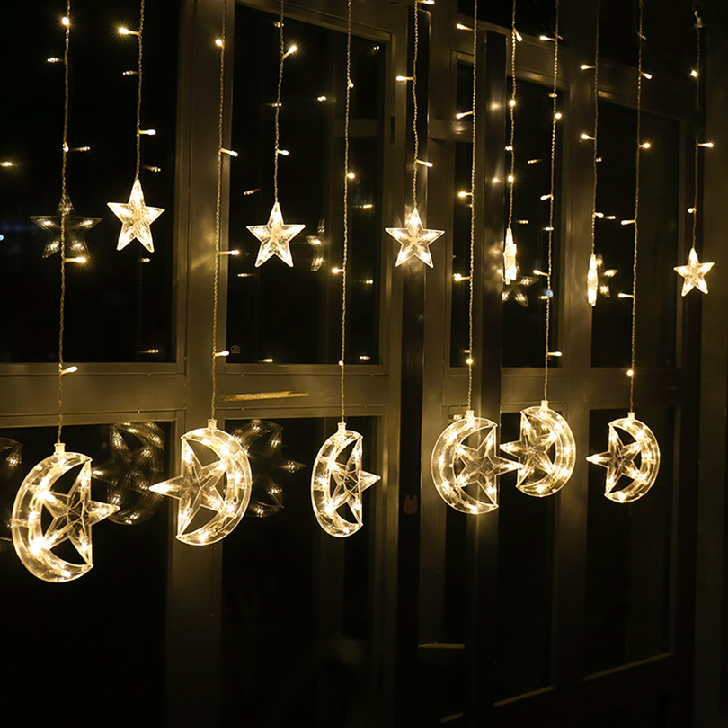 2.5M 138leds moon star Icicle LED Curtain String Light Garden Xmas Christmas Ramadan Wedding New Year Party Decoration Lights bison rolling grill