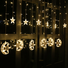 2.5M 138leds moon star Icicle LED Curtain String Light Garden Xmas Christmas Ramadan Wedding New Year Party Decoration Lights