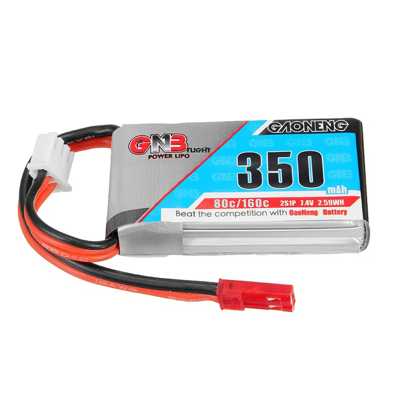 New Arrival Gaoneng GNB 7.4V 350mAh 80C 2S Lipo Battery With JST Plug For RC Toys Spare Part Accesorries