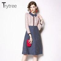Trytree Spring Dress Casual A line Women Peter pan Collar Pink Lace Patchwork Blue Hem shirt dresses Knee Length Office Dress