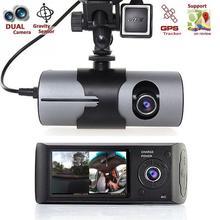 """デュアルカメラ車 DVR R300 gps と 3D G センサー 2.7 """"TFT 液晶 X3000 カムビデオカメラサイクル録画ズーム"""