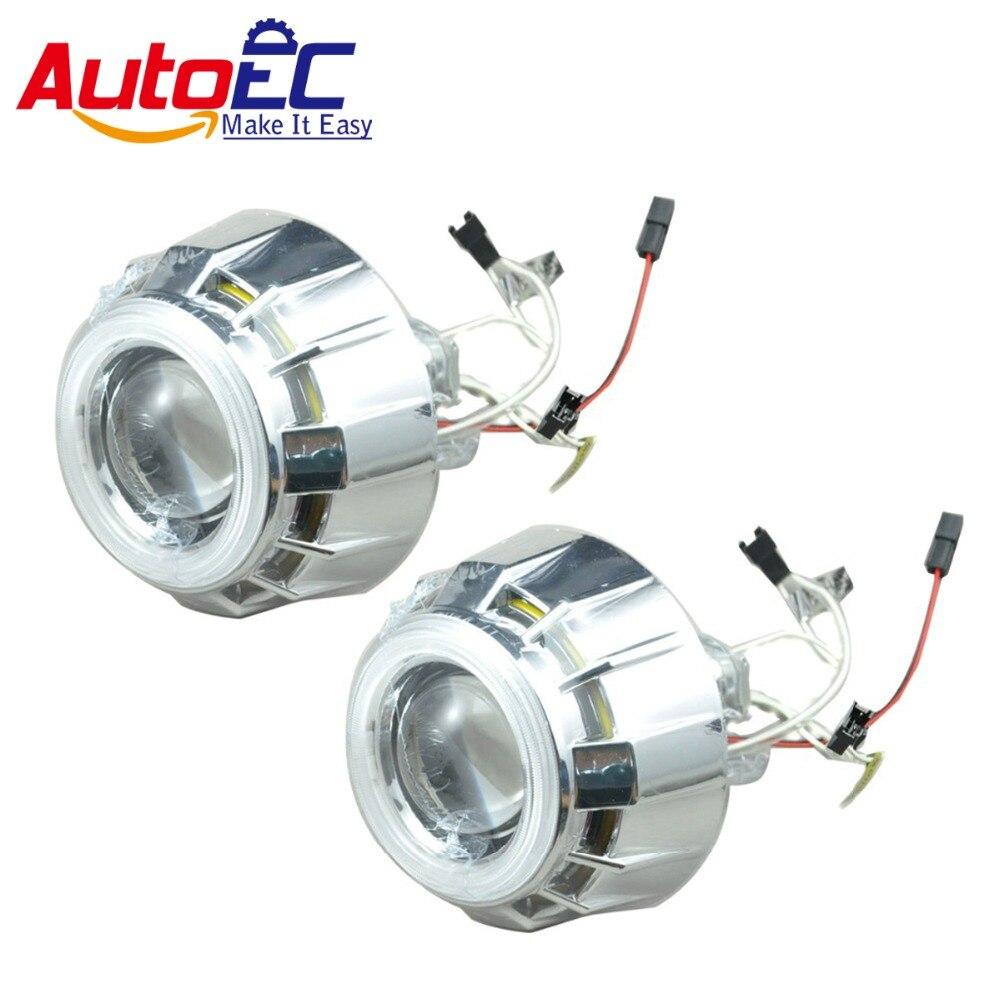 AutoEC 10set/lot  2.5 inch angle eye headlight hid bi xenon projector lens light head lamp bulb super bright  #LM47 rectangular 4x6 inch 5d led headlight bulb replace hid xenon h4651 h4652 h4656 h4666 h6545 projector for peterbilt kenworth