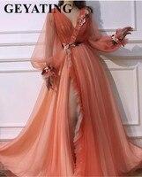 Коралловый тюлевый с длинными рукавами 3D цветы дубайские Вечерние наряды сексуальный v образный вырез длинный арабское выпускное платье с