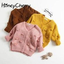 Детский свитер ручной работы с помпонами, вязаный кардиган, куртка, Детский свитер, пальто, кардиган для девочек, зимние свитера для девочек