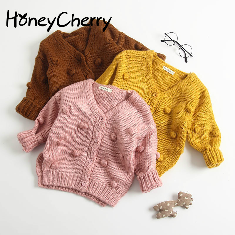 Baby Hand made Bubble Ball Sweater Knitted Cardigan Jacket Baby Sweater Coat Girls Cardigan Girls Winter Sweaters-in Sweaters from Mother & Kids