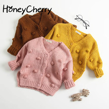 Baby Hand-made Bubble Ball Sweater Knitted Cardigan Jacket Coat Girls Winter Sweaters