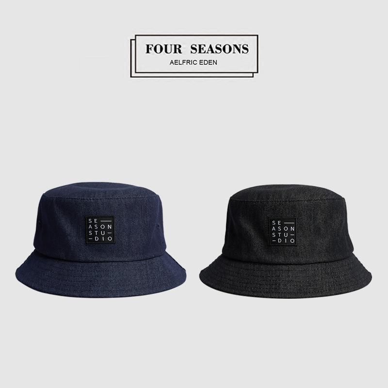 Bright Aelfric Eden Jeans Bucket Hats Letter Embroidery Harajuku Hat Denim 2018 Design Windproof Hiking Caps Hip Hop Streetwear Tf06