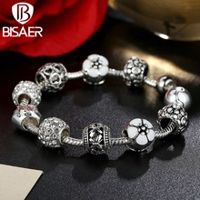 Hot Sales New Silver Plated Pink Flower and Love Beads Charms Bracelet Fit Original VRC Charms Bracelet Jewelry Making HJ1455