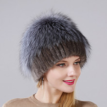 New Style Female Mink Fur Cap Fluffy Silver Fox Part More For Women Winter Warm Hat Knitted Mink With Fox Fur On The Top Cap Hat