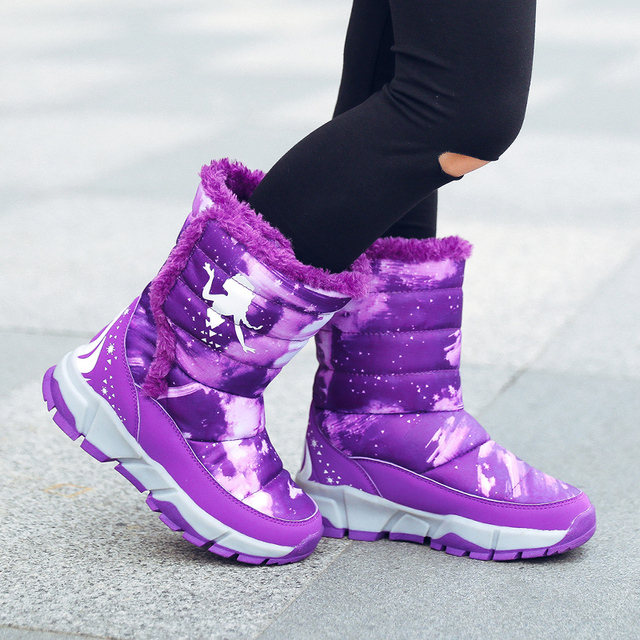 a5edba75a US $22.31 39% OFF|QIUTEXIONG Winter Boots For Girls Children Shoes Fashion  2018 warm black pink shoes hot sale red boots kids shoes-in Boots from ...