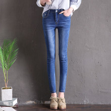 Hodisytian Spring Fashion Women Jeans Skinny High Waist Denim Pants Washed Capris Pencil Pants Stretch Trousers Pantalon Femme