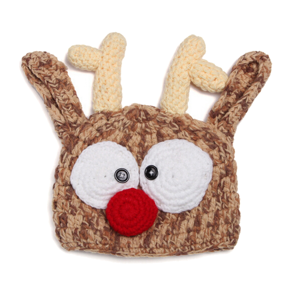 Kids Handmade newborn Baby infant boy prince Girl Animal Beanie photography Props knitted caps & hats-Deer
