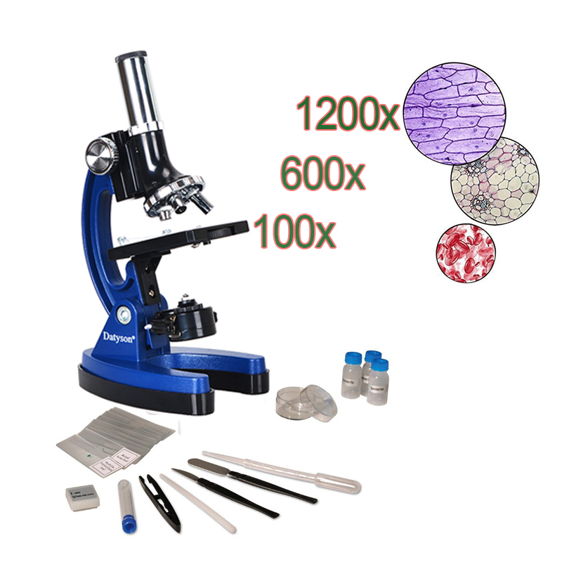 1200X Beginner Microscope Kit Student Science and Education Magnifier Children Intelligence Biological Instrument Birthday Gift biological science student microscope amscope supplies 800x biological science student microscope prepared