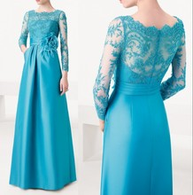 Blue Satin Long Party Dress with Sleeves See Through Lace Beading Elegant Evening 2015 Latest