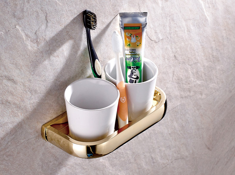 Wall Mounted Luxury Gold Color Brass Bathroom Toothbrush Holder Set Bathroom Accessory Dual Ceramic Cup mba846 image