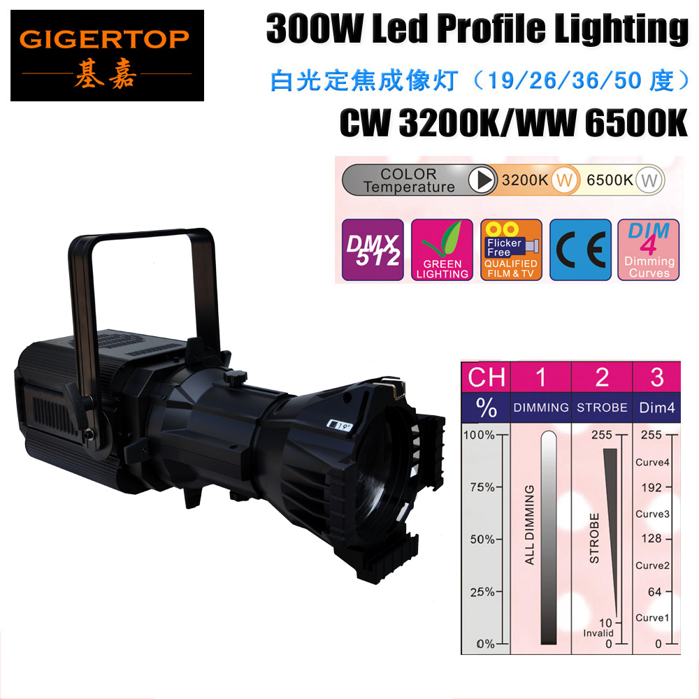 Free shipping Club KTV Disco 300W Led scanner 300w CW/WW Led Follow Spot Fixture No Flicker for Movie/Theatre/Audio Making