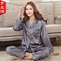 Mulheres Pijama Primavera E Verão Pijamas de Seda de Cetim De Seda Das Senhoras Pijama Cardigan Sólidos Conjuntos Sala de Pijama das Mulheres