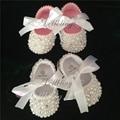 Batismo Branco puro pérolas Bonito feito sob encomenda DIY casamento inspirado nova nascidos prewalkers calçado princesa menina sapatos
