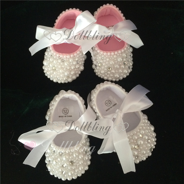 Pure White Christening Cute pearls custom made DIY prewalkers inspired wedding new born footwear princess little girl shoes