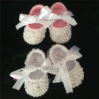 Pure White Christening Cute Pearls Custom Made DIY Prewalkers Inspired Wedding New Born Footwear Princess Little