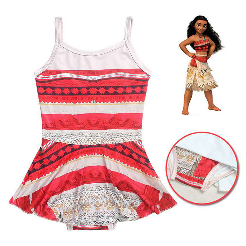 2017 Baby Girls Summer Moana Beach Dresses Kids Children Bikini One Piece Swim Bathing Wear Swimsuits Clothes 3-9Y бюстгальтер patti belladonna белый 80c ru