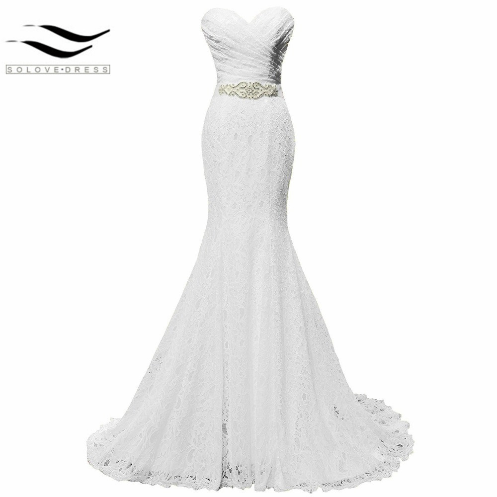 New pleat bridal wedding gown white lace cheap mermaid for Cheap lace mermaid wedding dresses