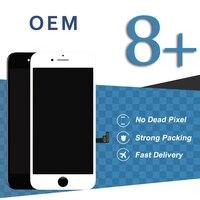 2pcs White Black OEM Pantalla For iPhone 8 Plus LCD Display Assembly Phone Repair Replacement + Sensor & Camera Holder Ear Mesh
