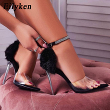 Eilyken Summer Sexy Sandals PVC Transparent Rhinestone Buckle Pointed Open Toe Fashion Crystal Heel Women Sandals Shoes Size 42
