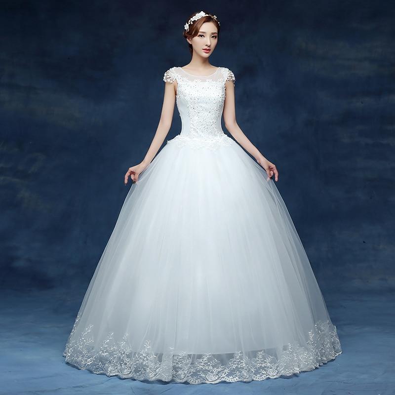 Fansmile Cheap Vintage Plus Size Lace Wedding Dress 2018