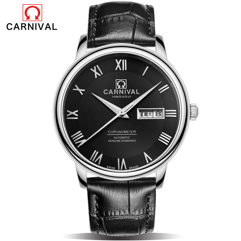 CARNIVAL Luxury Brand Mechanical Watches Men Skeleton Dial Clock Roman Casual Wristwatches Men Mechanical Hand Wind Watch Relogi ks black skeleton gun tone roman hollow mechanical pocket watch men vintage hand wind clock fobs watches long chain gift ksp069