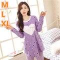 Plus Size Outono Inverno Quente Mulheres de Algodão Dos Desenhos Animados Coração Conjunto Loungewear Homedress Pijamas Nightgrowns Sleepwear HCN16055