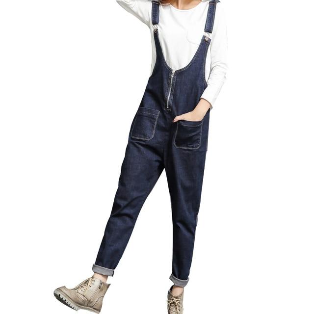 2c36cc0c5aac Free Shipping 2018 New Fashion Denim Bib Pants Trousers Loose Spaghetti  Strap Plus Size Jumpsuit And