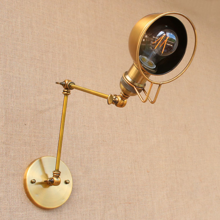 все цены на RH Rustic Brass Loft Style Industrial Wall Lamp Vintage Adjustable Long Swing Arm Light Fixtures Wall Sconces Arandela Lighting