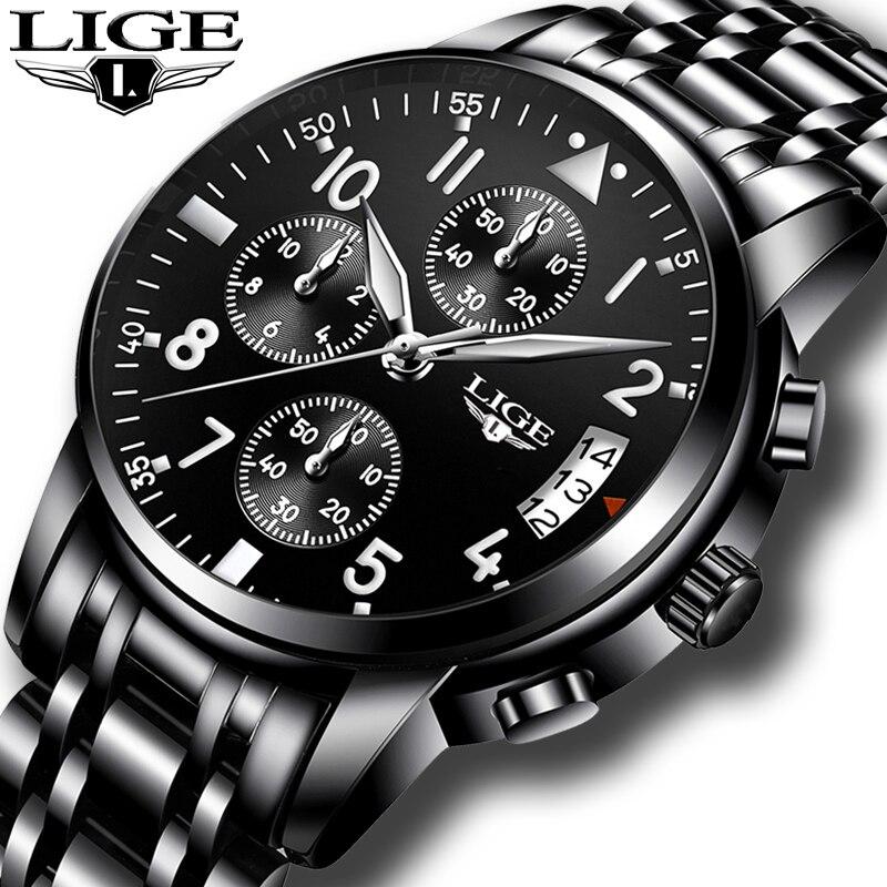 Top lujo marca LIGE hombres moda de negocios de cuarzo reloj hombres ocio deporte completo de acero impermeable reloj negro Relogio Masculino